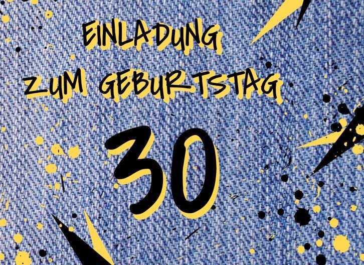 Ansicht 3 - Geburtstagseinladung Jeans Style 30