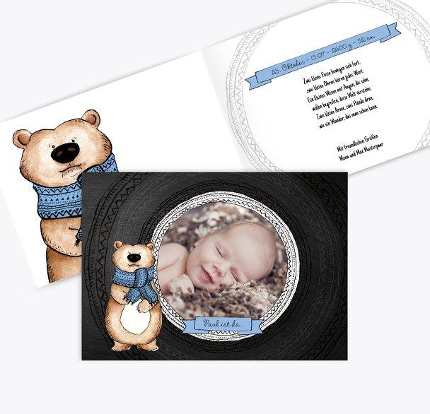Geburtskarte Vintage Bär