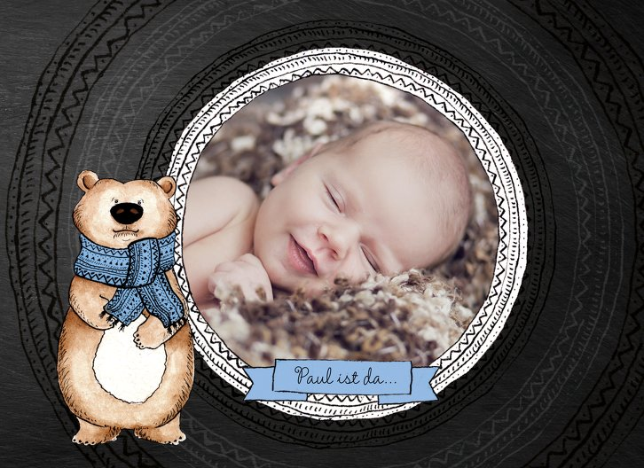 Ansicht 3 - Geburtskarte Vintage Bär