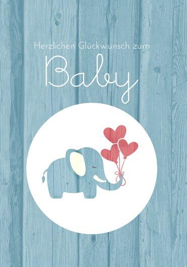 Ansicht 3 - Glückwunschkarte zur Geburt Elefant