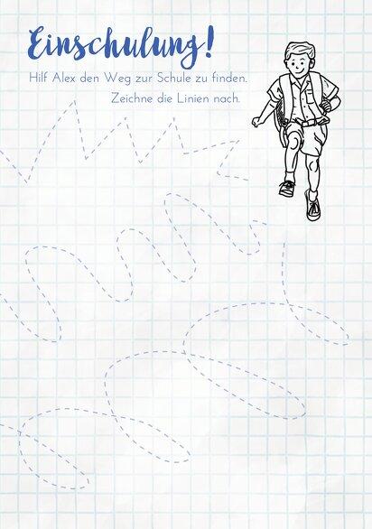 Ansicht 3 - Einladung Einschulung Zickzacklinien Junge/Mädel
