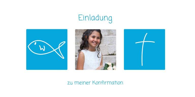 Ansicht 3 - Einladungskarte zur Konfirmation White