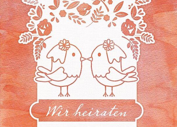 Ansicht 2 - Antwortkarte Vogelpaar - Frauen