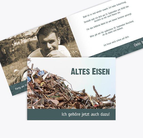 Einladungskarte Altes Eisen Foto