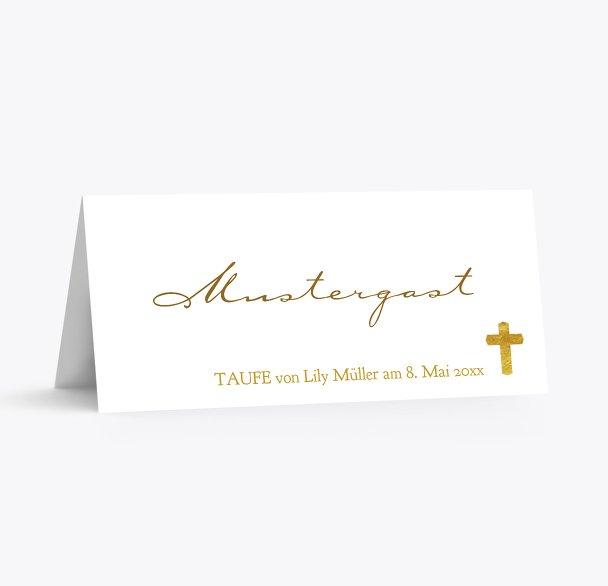 Taufe Tischkarte Goldrausch