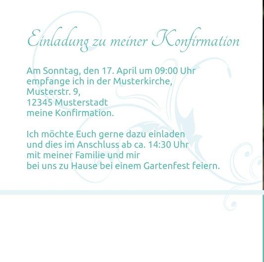 Ansicht 5 - Einladungskarte zur Konfirmation floral