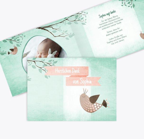 Taufe Dankeskarte Vögelchen