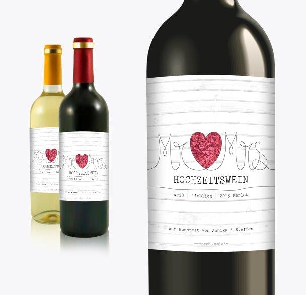 Flaschenetikett Mr&Mrs
