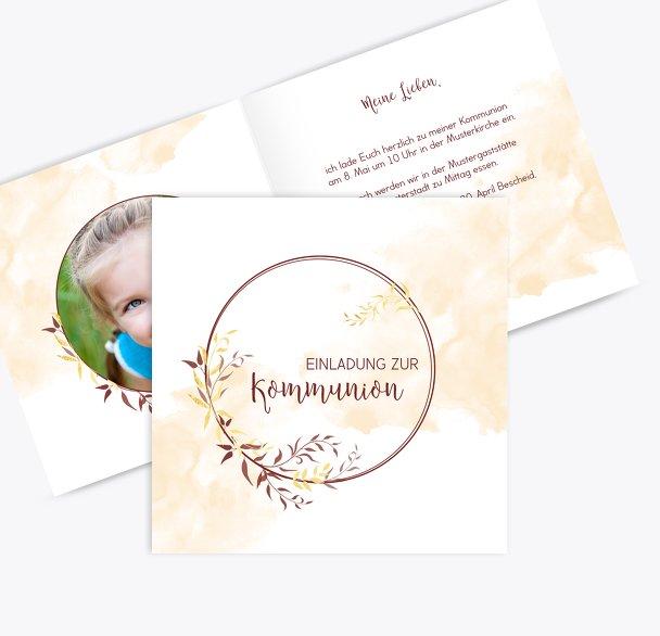 Kommunion Einladung Blattkreis