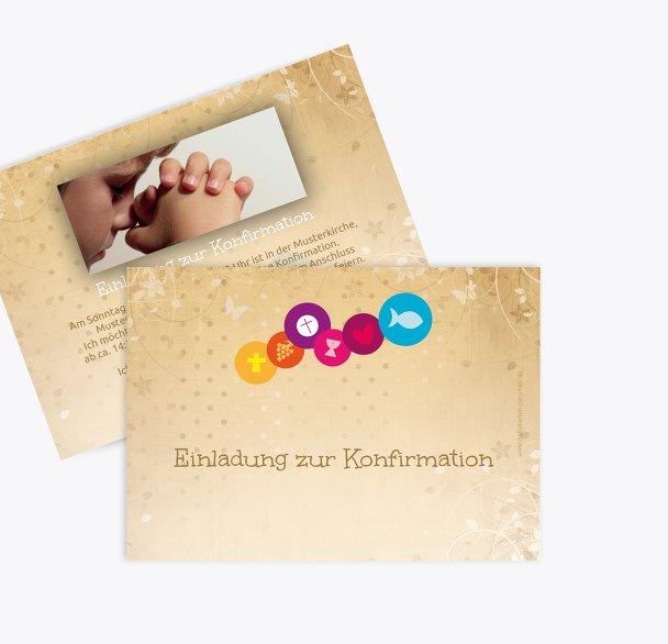 Konfirmation Einladungskarte bunte Elemente