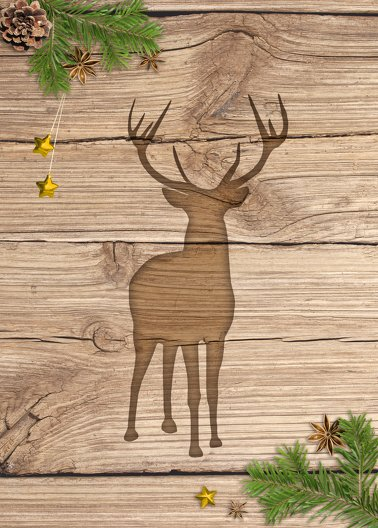 Ansicht 2 - Weihnachtsgrußkarte Holzhirsch