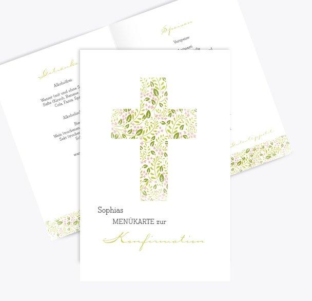 Konfirmation Menükarte Blumenkreuz