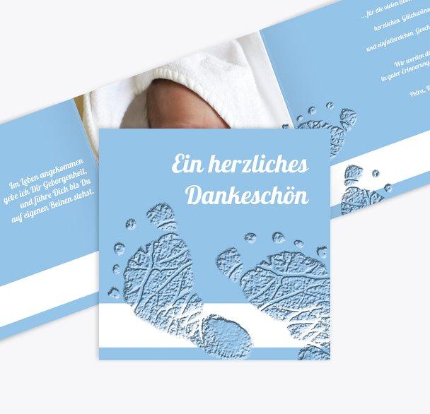 Taufe Dankeskarte Footprints