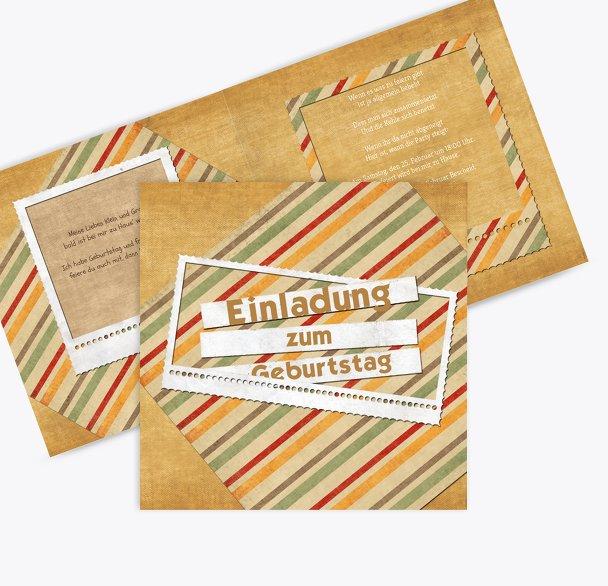 Geburtstagseinladung color stripes