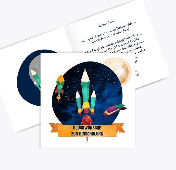 Glückwunschkarten Einschulung Weltall