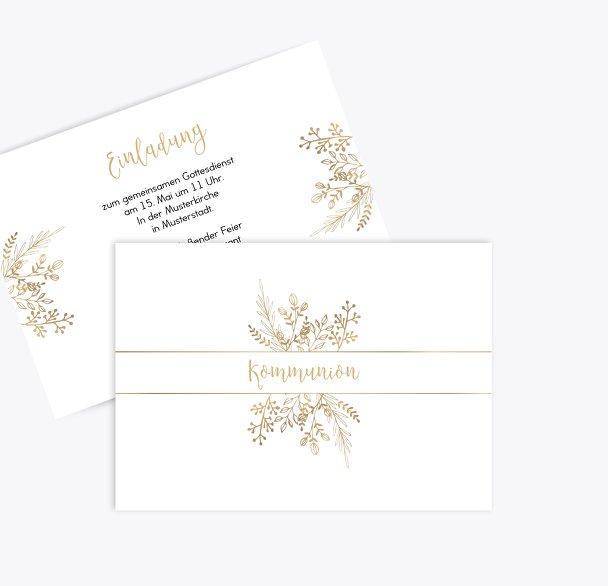 Kommunion Einladungskarte Goldblüte