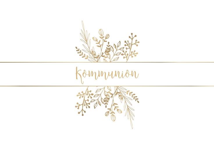 Ansicht 2 - Kommunion Einladungskarte Goldblüte