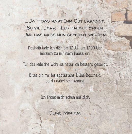 Ansicht 5 - Einladung Foto Striche an der Wand 60