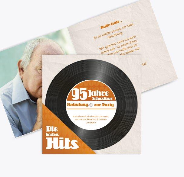 Geburtstagseinladung Schallplatte 95