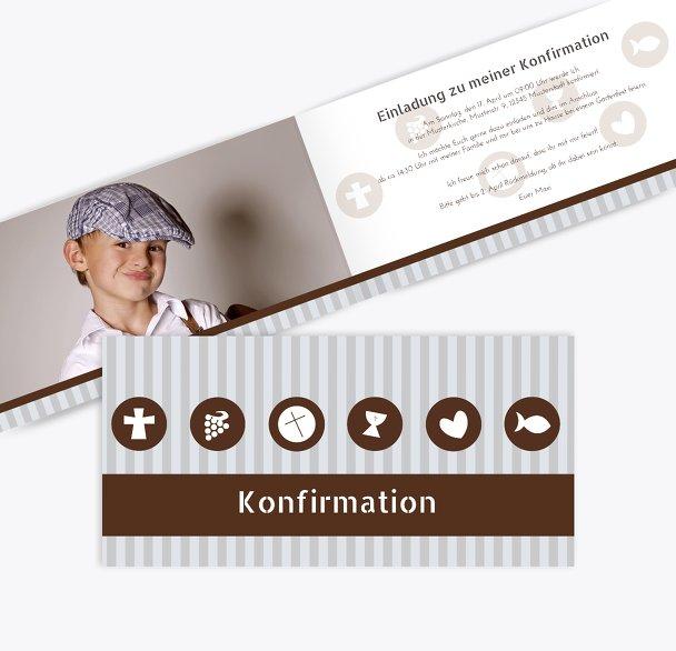 Konfirmation Einladung stripes-buttons