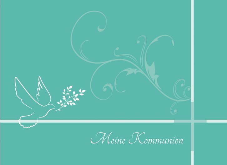Ansicht 3 - Kommunionskarte floral