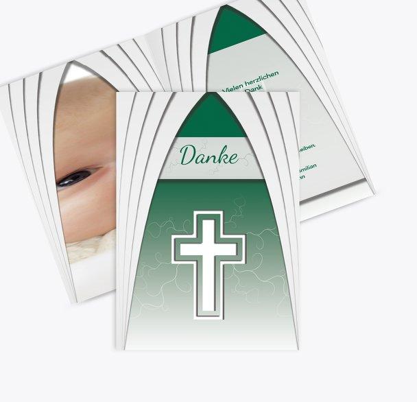 Taufe Dankeskarte gotischer Bogen