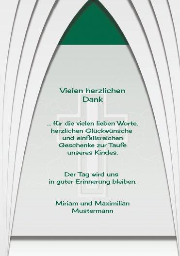 Ansicht 5 - Taufe Dankeskarte gotischer Bogen