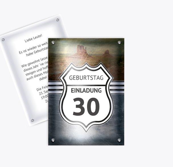Geburtstagseinladung Route 30