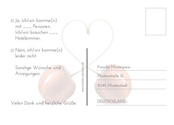 Ansicht 3 - Hochzeit Antwortkarte Kirsche