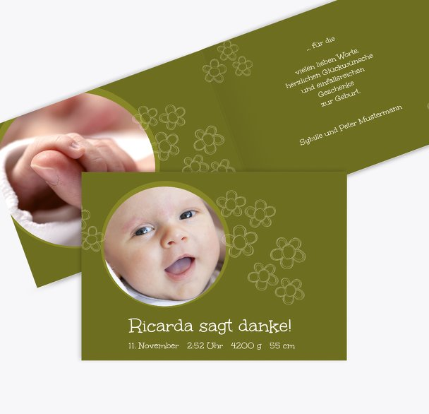 Baby Dankeskarte Blüten