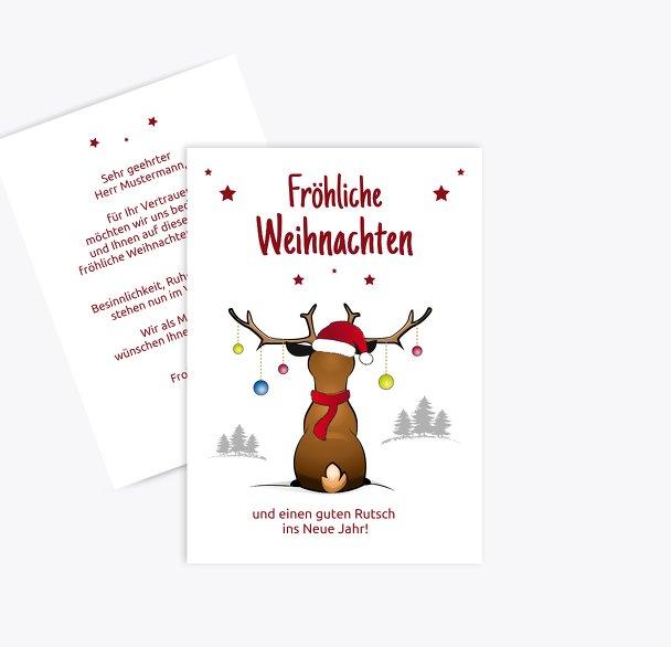 Weihnachtsgrußkarte Rudolph