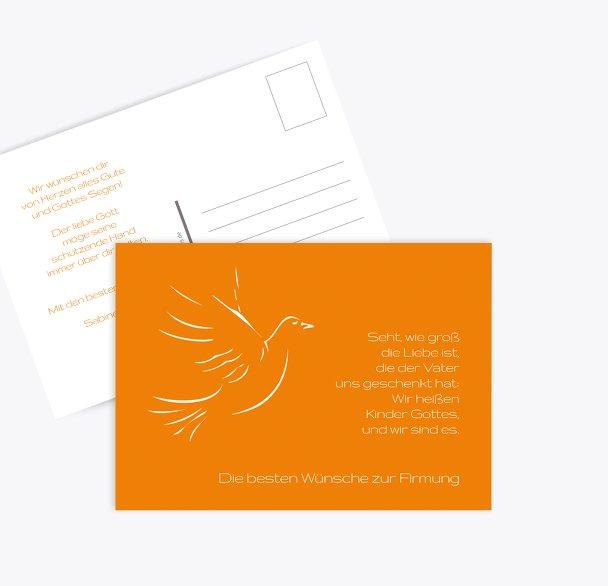 Glückwunschkarte zur Firmung Pigeon
