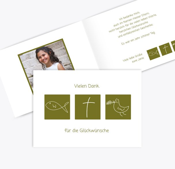 Kommunion Dankeskarte Triple
