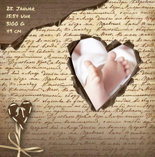 Ansicht 4 - Geburtskarte Gedicht mit Herz