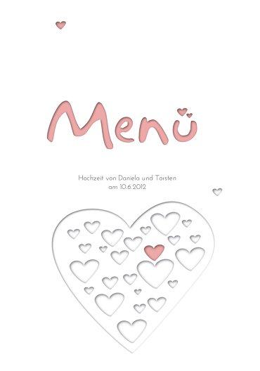 Ansicht 3 - Hochzeit Menükarte Herzform