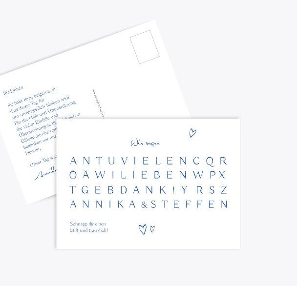 Hochzeit Dankeskarte Buchstabenrätsel
