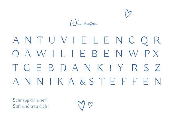 Ansicht 2 - Hochzeit Dankeskarte Buchstabenrätsel
