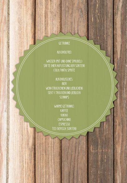 Ansicht 4 - Hochzeit Menükarte Vintage Holz
