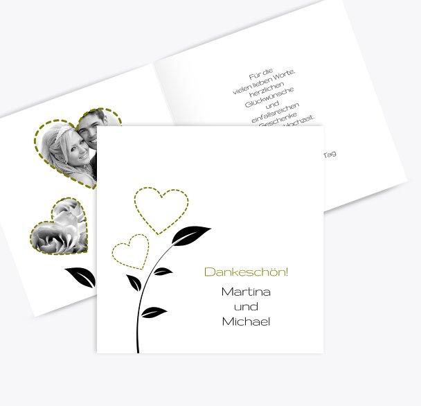 Hochzeit Dankeskarte Herzblume
