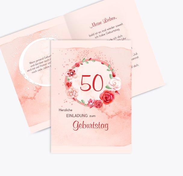 Geburtstagseinladung Aquarell Rosen 50
