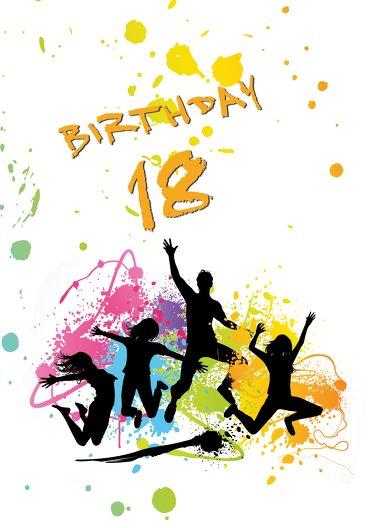 Ansicht 3 - Karte 18. Geburtstag bunte Party 18