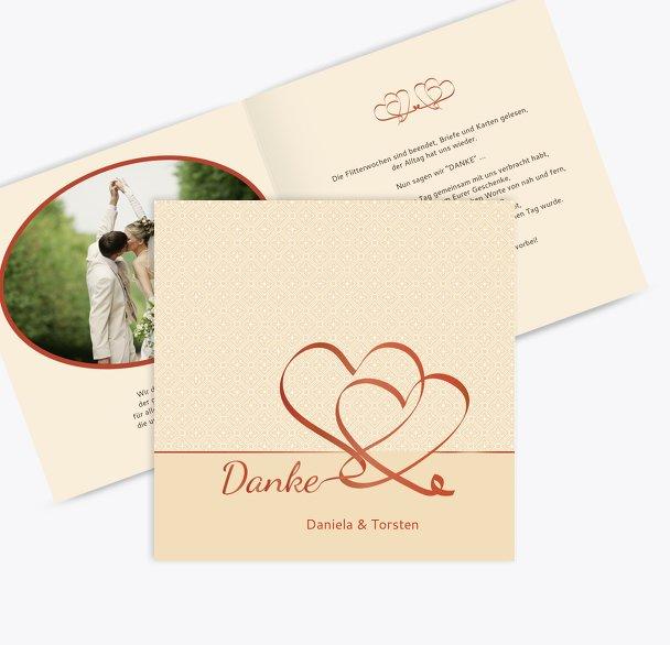 Hochzeit Dankeskarte Turteltäubchen