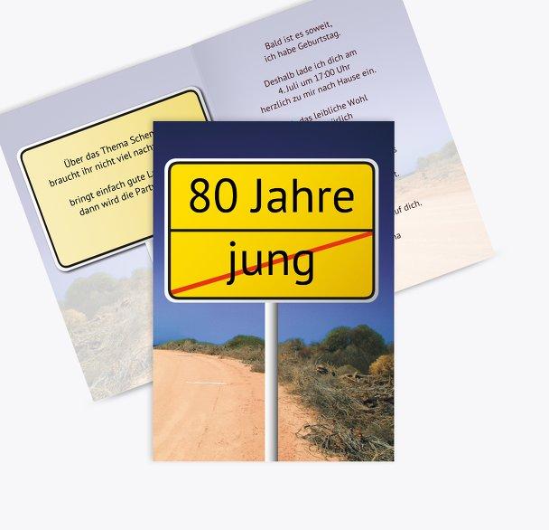 Karte zum Geburtstag Straßenschild 80
