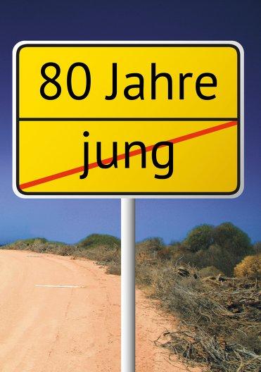 Ansicht 3 - Karte zum Geburtstag Straßenschild 80
