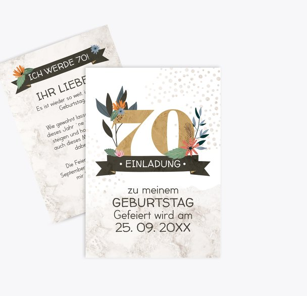 Geburtstagseinladung Blumenzahl 70