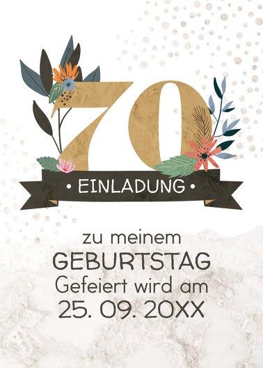Ansicht 2 - Geburtstagseinladung Blumenzahl 70