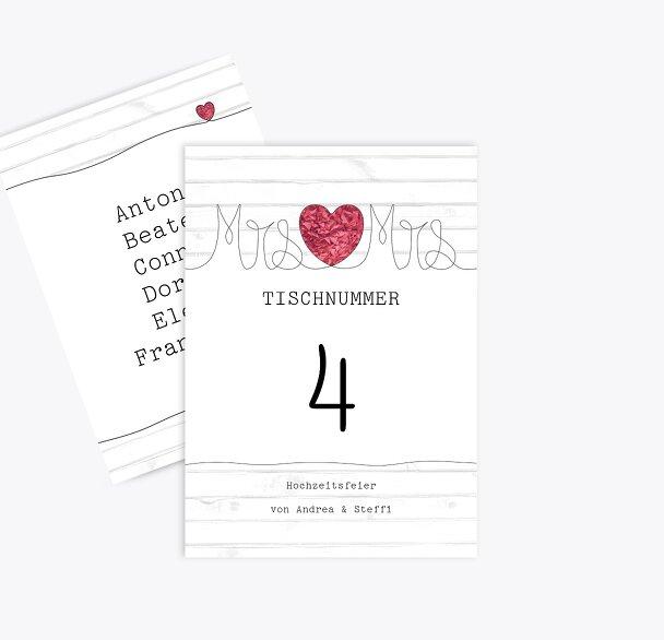 Tischnummer Mrs&Mrs