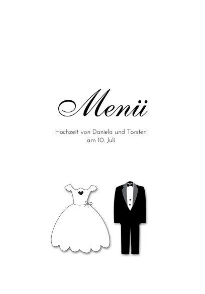Ansicht 3 - Hochzeit Menükarte dress and suit