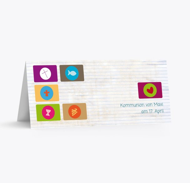 Tischkarte zur Kommunion buttons