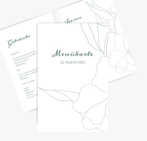 Hochzeitskarten_Menü Zahrte Blume